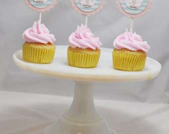 Shabby Chic Mini Cupcake Toppers- 1st Birthday Girl- Set of 12