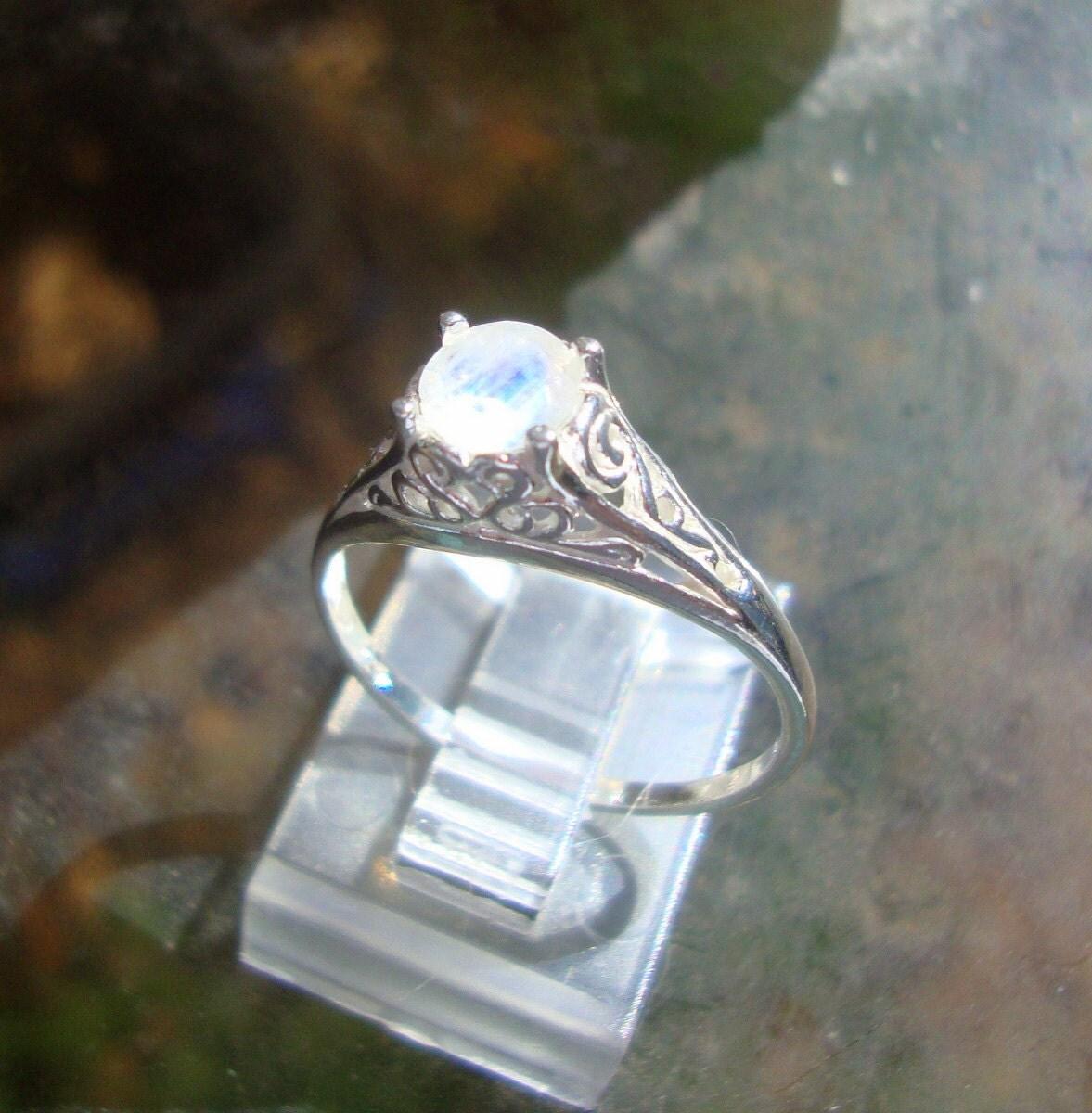 Rainbow Moonstone Ring VALERIE Filigree Ring Eco-friendly