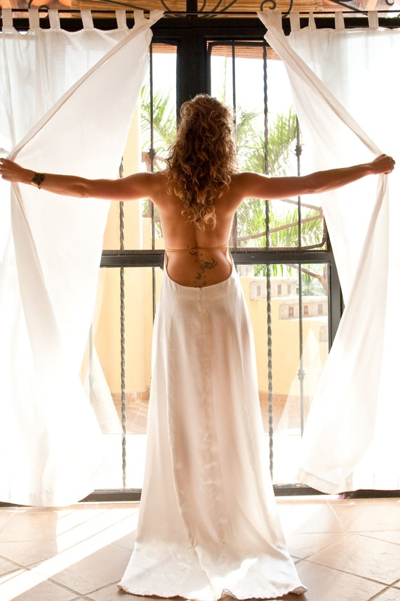 The aphrodite by elika in love a boho backless wedding for Satin cowl neck wedding dress