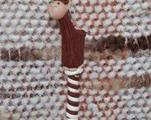 Brown Alpaca weaving loom heddle hook - polymer clay