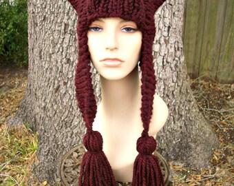 Knit Hat Womens Hat - Tassel Dragon Red Ear Flap Hat in Oxblood Red Wine Knit Hat - Red Hat Womens Accessories Winter Hat