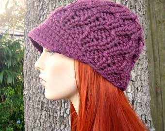 Purple Newsboy Hat Chunky Knit Hat Womens Hat - Amsterdam Cable Beanie Fig Purple Knit Hat - Purple Hat Purple Beanie Womens Accessories