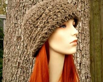 Crochet Hat Womens Hat 1920s Flapper Hat - Garbo Cloche Hat in Barley Brown Tweed Crochet Hat - Womens Accessories
