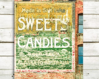 "ghost ad, vintage fonts, large wall art, wall art, vintage decor, modern decor, rustic art, green, yellow, old, fonts - ""Sweets Candies"""