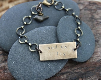 and so i fly . a hand stamped soul mantra bracelet