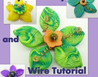 Bright Flower Pendants - Polymer clay multi media Tutorial -  Digital PDF File Download