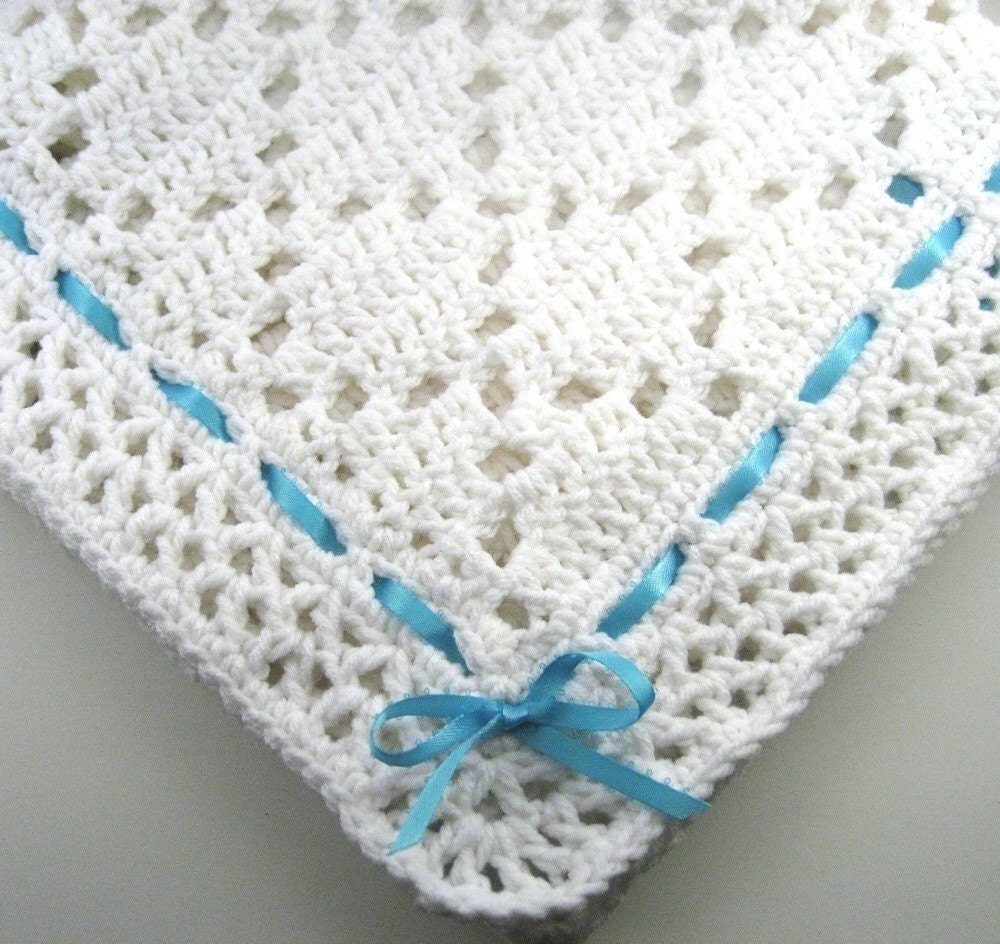 Crochet Patterns For Afghan : PDF Pattern Crocheted Baby Afghan DIAMOND LACE Baby Afghan