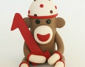 Sock Monkey Birthday Cake Topper w Number / 3 inch