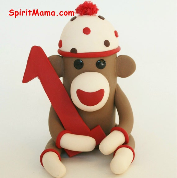 Sock Monkey Birthday Cake Topper w Number / 3 inch