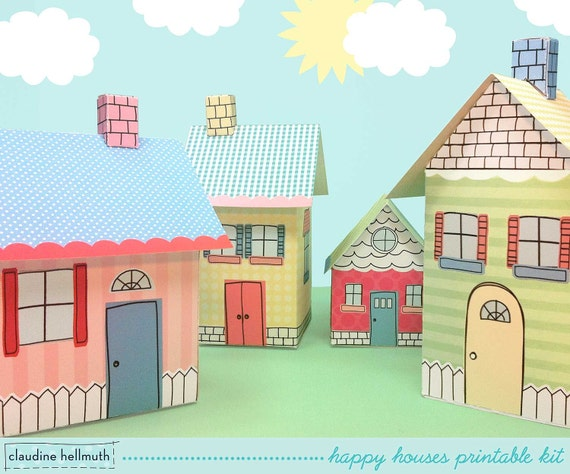 happy houses -  candy, gift boxes, party favor boxes, centerpiece decoration printable PDF kit - INSTANT download