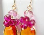 Raspberry and Pink Quartz Clusters, Orange Glass Gold Bevel, 14K Gold Fill French Ear Wire Earrings, Tutti Frutti