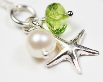 Tiny Starfish Necklace, Sterling Silver, Apple Green Peridot, Freshwater Pearl, Mini Charms, Sea Star, Adjustable, Flower Girl Wedding