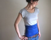 Royal Blue and Grey Color Block Blouse, Tee Shirt, Women's Tshirt, Tank, Yoga Clothing, Spring Top, Custom Made to Order