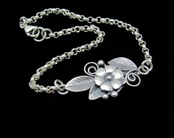 Silver Bracelet, Sterling Bracelet, Flower Bracelet, Sterling Silver, Friendship Bracelet, Silver Friendship Bracelet, Hawaii Jewelry