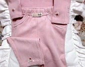 Infant Girl's Hand Embroidered Bodysuit and Pants Set,  0-3mos. / Long-Sleeved, Pink, New / Lamb and Flowers