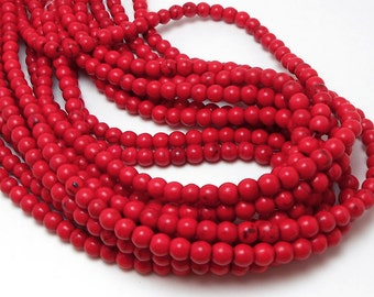 66 Red Howlite Beads 6MM (H7024)