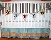 Custom Flag Banner, Personalized Bunting Flag Decoration. 7 Flags, 7 Foot Long Garland.  Up to 5 letters, with an option for more.