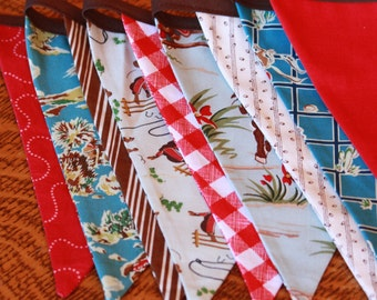 Vintage Cowboy Western Rodeo Theme Fabric Bunting, Boy's Banner, Photo Prop, Party Flags, 9 Large Flags, Designer's Choice.