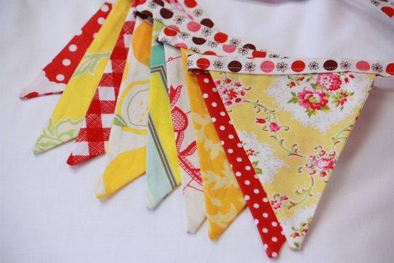 Shabby Chic AS SHOWN Flag Bunting in Red and Yellow. Flag Banner Photo Prop, Parties, Wedding Decor, Birthday Decoration, Girls Room, Party