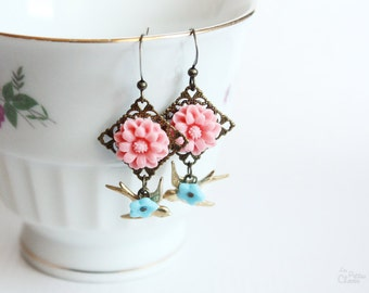 Romantic Paradise earrings - Floral, Shabby Chic, Vintage Inspired Jewelry