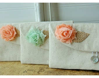 burlap bag clutch set 3 4 5 6 rustic wedding rose color choice purse Personalize Bridesmaid party Custom Pouch gift MakeUp