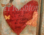 """Mothers Day Gift, Mixed Media Art Print , Home Decor, Valentines Day Gift for Mom, Heart Wall Art,Room Decor 8x8"""""""