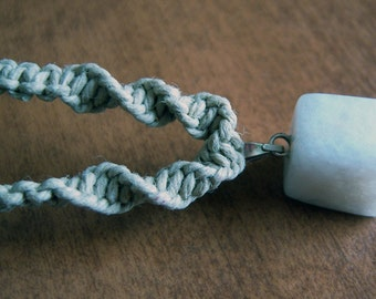 Natural Hemp with White Quartz Pendant