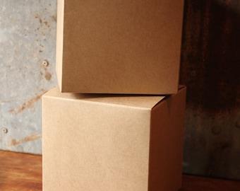 20 Kraft Gift Box 4X4X4 -- Favor Box -- Top Tuck