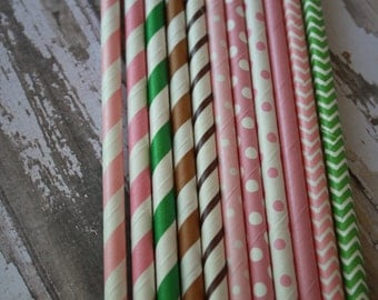 Girls John Deere Theme Party Straws -- Vintage --Tractor Paper Straw Set of 20 Pink Green Brown Polka Dots Stripes