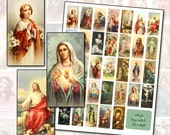 Antique Catholic Holy Cards 2 Digital Collage 1x2 domino size altered art collage mixed media 25mm x 50mm 1x2 inches