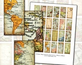 Antique Maps of the World domino digital collage sheet 1x2 in 25mm x 50mm printable mixed media digital download