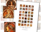 Alphonse Mucha Scrabble size .75 in x .83 in (19mm x 21mm) digital collage sheet Art Nouveau poster art