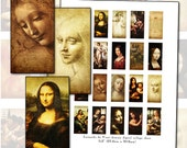 "Leonardo Da Vinci domino digital collage sheet 1x2"" 25mm x 50mm Renaissance master artist"