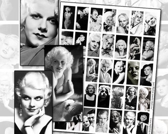 1930s actress Jean Harlow the original Platinum Blonde domino digital collage sheet 1x2 inch 25mm x 50mm
