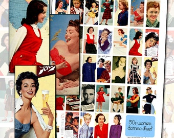 Vintage 1950s Magazine Women Digital Collage sheet I for domino jewelry and altered art work 25mm x 50mm 1x2