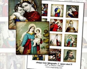 "Antique Religious Catholic Lithographs II 2"" square digital collage sheet 50mm 50.8 mm square printable DIY"