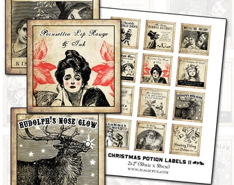 Antique Christmas Potion Labels II 2x2 inch digital collage sheet inchies 50mm square tea pointsettia lipstick angel peace reindeer star