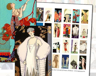 1920s Fashion Plate domino digital collage sheet 25mm x 50mm 1 x 2 inch flapper jazzbaby