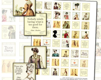 Jane Austen Quotes Regency England fashion 1 inch square inchies digital collage sheet 25mm x 25mm costume womens clothing