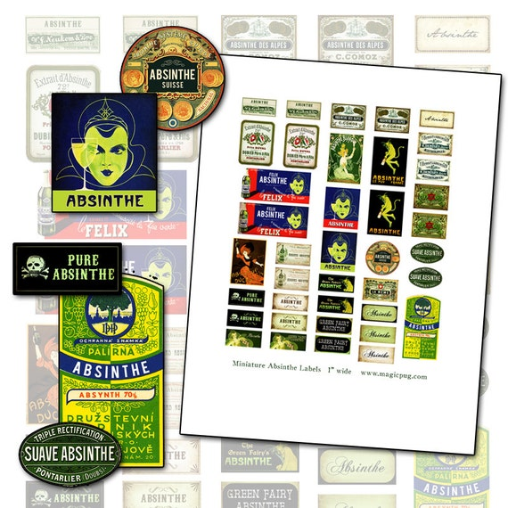 Miniature Dollhouse Absinthe labels props 1:12 scale 1/12 dollhouse digital collage sheet