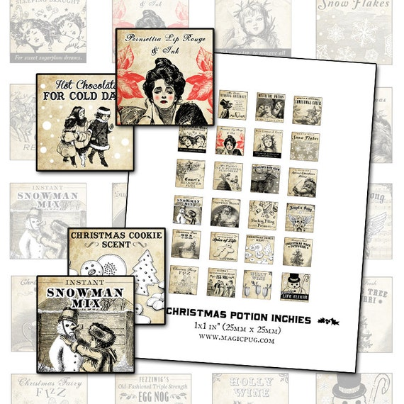 Antique Christmas Potion Labels 1x1 inch digital collage sheet inchies 25.4mm 25x25 square tea Frosty the Snowman cookie snowflakes angel