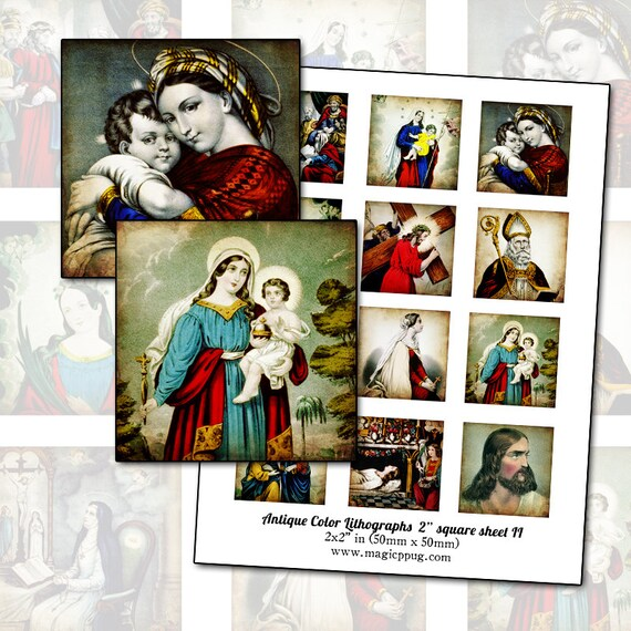 "Antique Religious Catholic Lithographs II 2"" square digital collage sheet 50mm 50.8 mm square printable DIY"