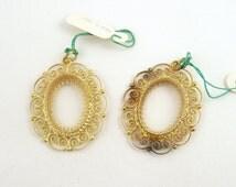 Italian Silver Gold Filigree Pendant Setting Necklace // Gold Pendant Setting  // Oval Stone Setting // 18 x 13 mm stone Setting // 19374