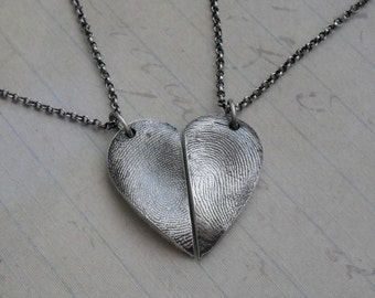 Fingerprint Necklaces with Two Adult Fingerprints - Heart - Fine Silver on Sterling Chain - Made to Order