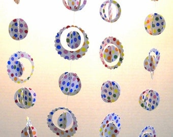 Party Decor Garland Multi-dimensional Paper OOAK White with Multi Color Dots