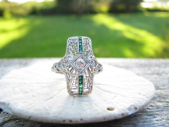 Beautifully Intricate Vintage Diamond Emerald Ring - Striking Edwardian to Art Deco Design - Gorgeous Floral Details and Filigree