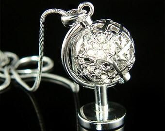 Swarovski Crystal 3D World Globe Adventure travel Peace Eco Pendant Necklace Jewelry Best Friend Gift New