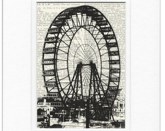 ferris wheel dictionary page print