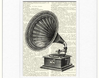 vintage record player print