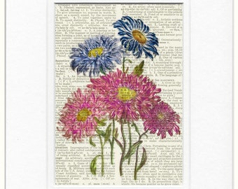 vintage flowers I dictionary page print